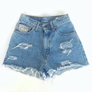 Vintage✨Levi's 151 Studded Glam Cutoff Jean Shorts